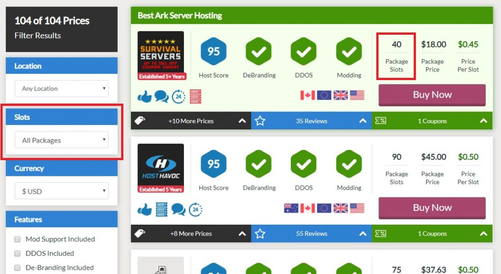 CompareGameHosting Slots Dropdown
